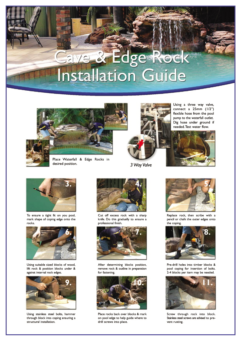 Installation Guide for Swimming Pool Rock Waterfall Kits